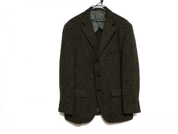 ハリスツイード ジャケット サイズ7 メンズ美品  ダークブラウン×グレー×マルチ