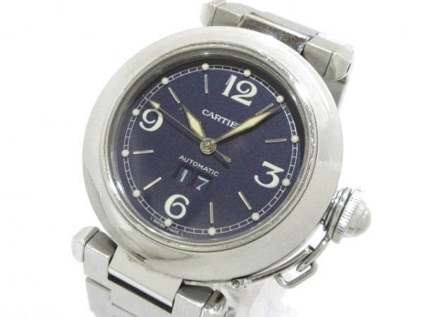 カルティエ 腕時計 パシャCビッグデイト W31047M7 ボーイズ SS ダークネイビー