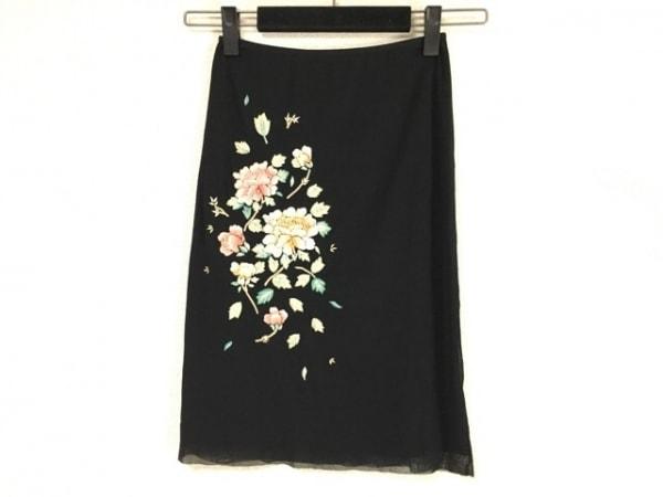 VIVIENNE TAM(ヴィヴィアンタム) スカート サイズ0 XS レディース美品  黒 刺繍/花柄