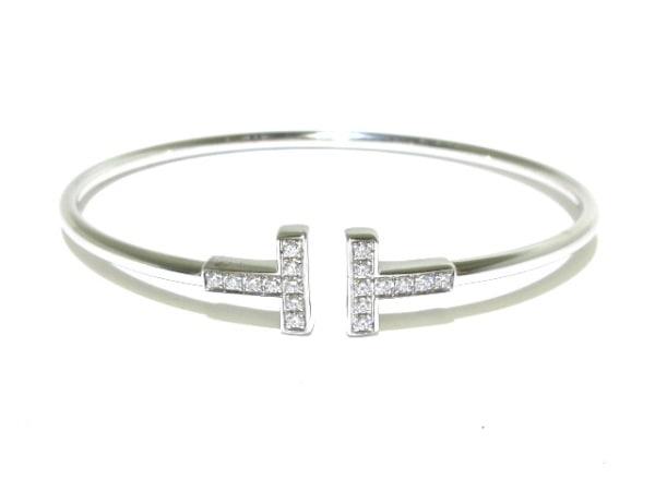 ティファニー ブレスレット美品  Tワイヤーブレスレット K18WG×ダイヤモンド