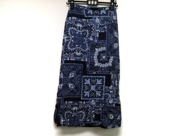 Scapa(スキャパ) ロングスカート サイズ38 L レディース ネイビー×黒×マルチ