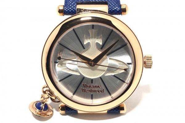 ヴィヴィアン 腕時計美品  VV006RSBL レディース 革ベルト シルバー