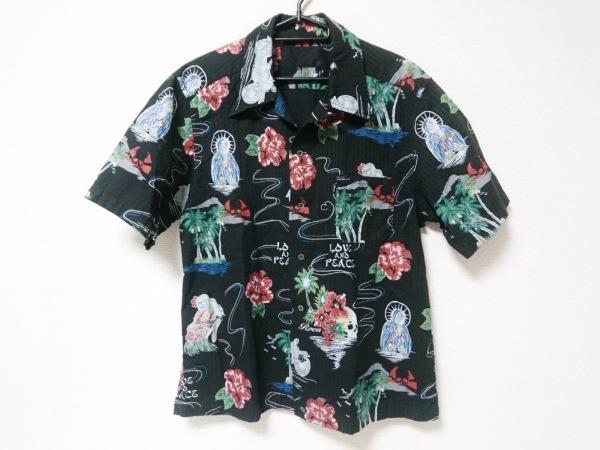 Roen(ロエン) 半袖シャツ サイズ52 メンズ 黒×レッド×マルチ アロハシャツ