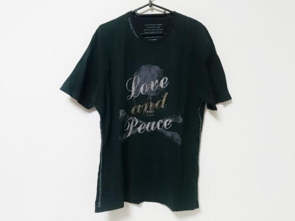 Roen(ロエン) 半袖Tシャツ サイズ50 メンズ 黒×ダークグレー×アイボリー