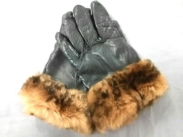 Gala Gloves(ガラグローブ) 手袋 7.5 レディース美品  黒×ブラウン レザー×ファー