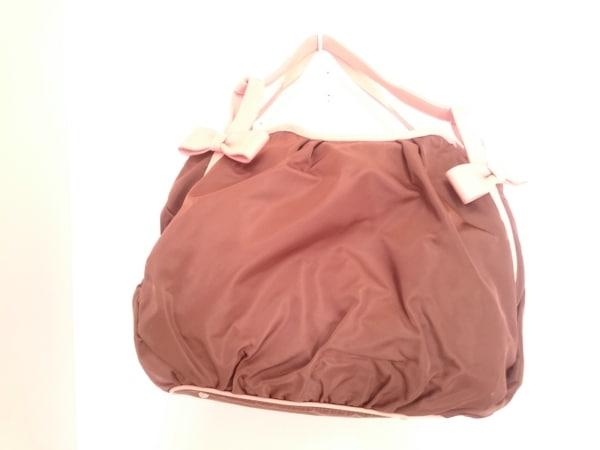 UNOKANDA(ウノカンダ) ハンドバッグ ダークブラウン×ピンク リボン ナイロン×レザー