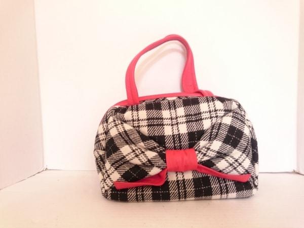 UNOKANDA(ウノカンダ) ハンドバッグ美品  黒×白×レッド チェック柄 ウール×レザー