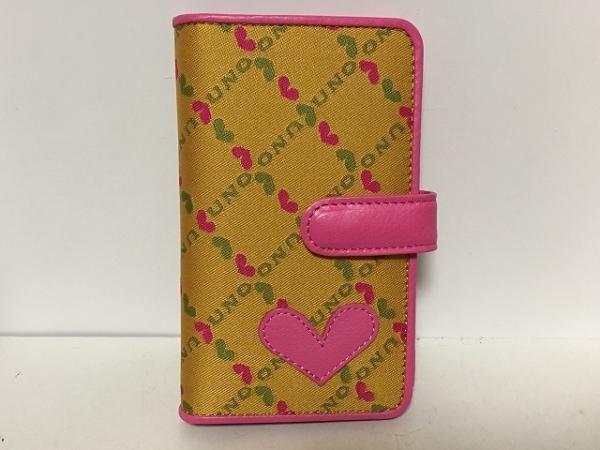 UNOKANDA(ウノカンダ) 2つ折り財布美品  ベージュ×ピンク×ライトグリーン ハート
