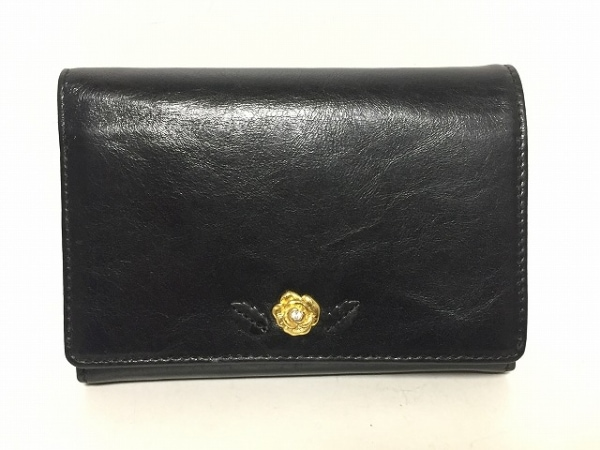 UNOKANDA(ウノカンダ) 2つ折り財布 黒 レザー