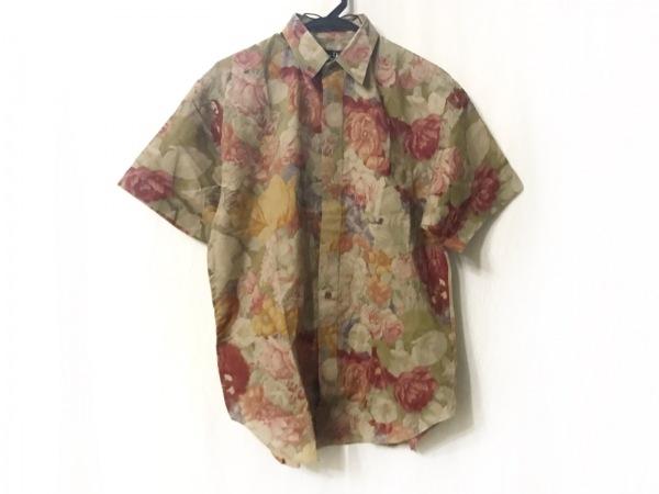 クリスチャンディオールムッシュ 半袖シャツ メンズ ベージュ×レッド×マルチ 花柄
