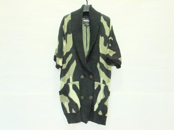 Barbour(バーブァー) ジャケット サイズS レディース 黒×ダークグリーン ニット