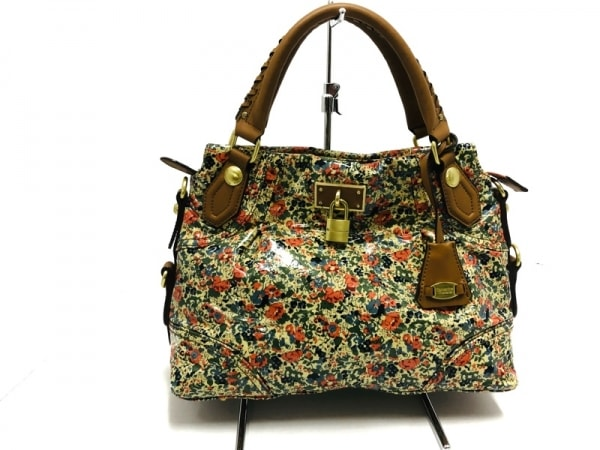 サマンサタバサ ハンドバッグ美品  ベージュ×ブラウン×マルチ 花柄