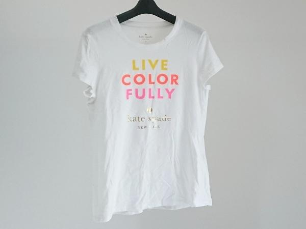Kate spade(ケイトスペード) 半袖Tシャツ サイズM レディース 白×ゴールド×マルチ