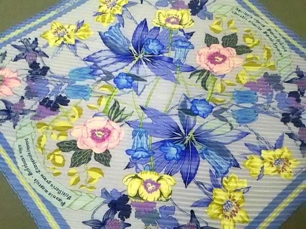 HERMES(エルメス) スカーフ カレプリセ パープル×イエロー×マルチ 花柄