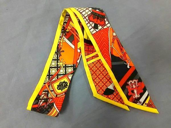 HERMES(エルメス) スカーフ美品  ツィリー オレンジ×ダークグレー×マルチ