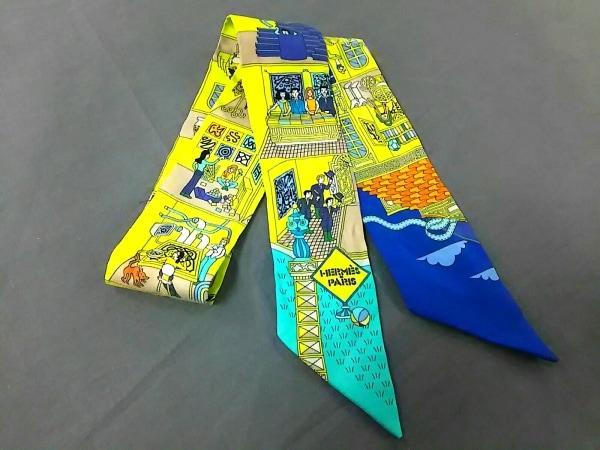 HERMES(エルメス) スカーフ美品  ツィリー イエロー×ブルー×マルチ