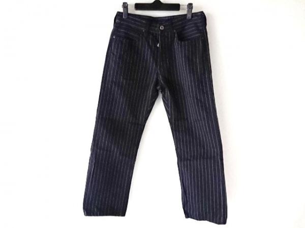 ダルチザン パンツ サイズ31 メンズ ダークネイビー×白 ストライプ