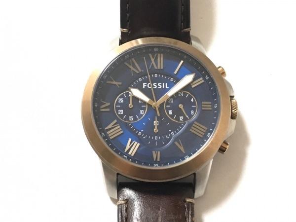 FOSSIL(フォッシル) 腕時計 FS5150 メンズ 革ベルト/クロノグラフ ネイビー