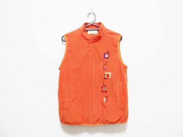 Adabat(アダバット) ベスト レディース オレンジ×マルチ 刺繍/ジップアップ