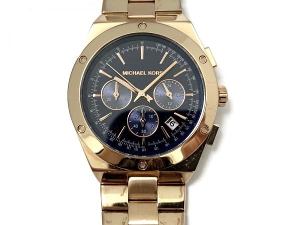 マイケルコース 腕時計美品  MK-6148 メンズ クロノグラフ ダークネイビー