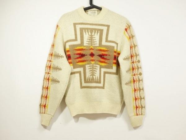 ペンドルトン 長袖セーター サイズmv メンズ アイボリー×ダークブラウン×マルチ