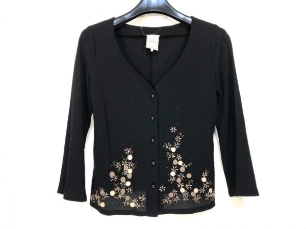 Sybilla(シビラ) カーディガン サイズM レディース 黒×マルチ フラワー/刺繍