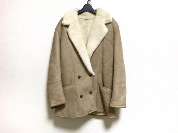 カンタベリー コート サイズ16 XL レディース ベージュ×アイボリー 冬物/ムートン