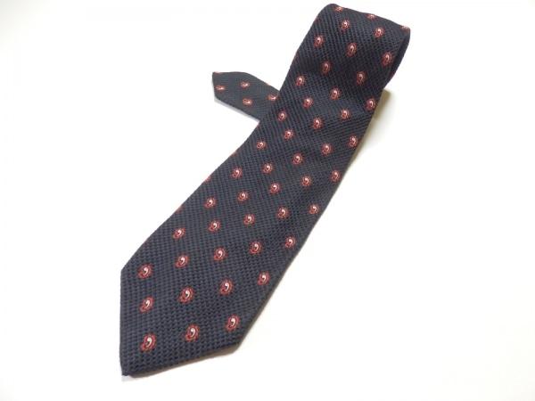 STEFANORICCI(ステファノリッチ) ネクタイ メンズ 黒×レッド×白 刺繍