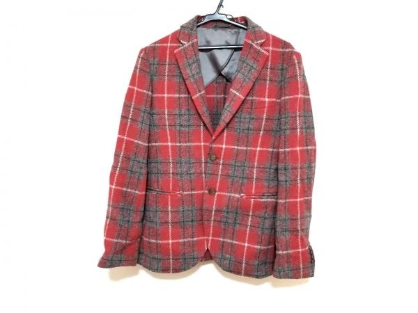 ハリスツイード ジャケット サイズ48 XL メンズ美品  レッド×グレー×白 チェック柄
