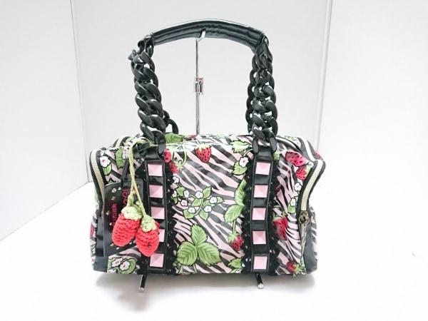 ベッツィーヴィル ハンドバッグ ピンク×黒×マルチ プラスチックハンドル/イチゴ柄