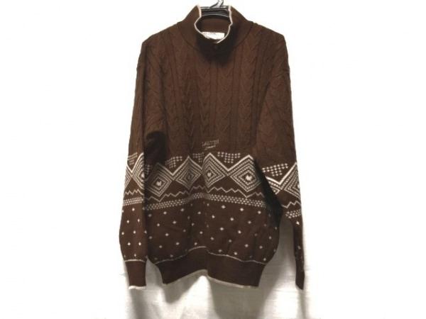 ランバン 長袖セーター サイズ50 XL メンズ ダークブラウン×アイボリー studio