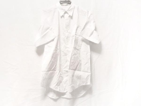 イッセイミヤケデザインスタジオ 半袖シャツ メンズ 白×ネイビー ストライプ
