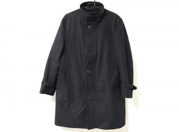 アクアスキュータム コート サイズM メンズ美品  黒 ネーム刺繍/千鳥格子/春・秋物