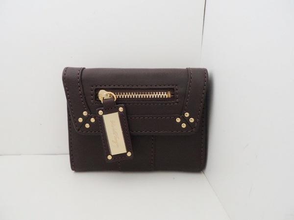 Violet Hanger(バイオレットハンガー) 3つ折り財布美品  ダークブラウン レザー