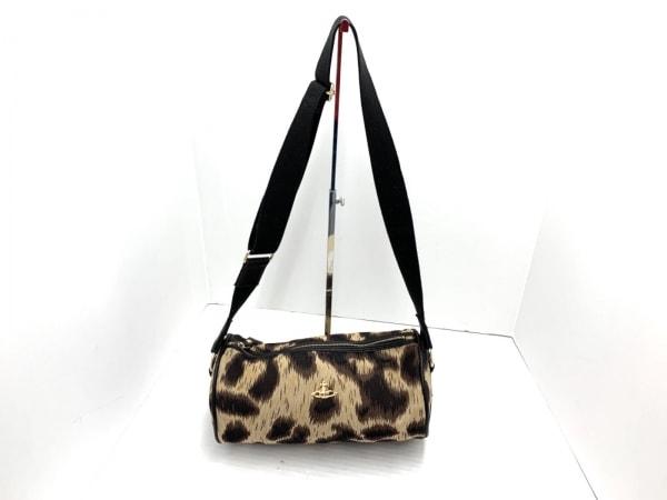 ヴィヴィアンウエストウッド ショルダーバッグ ベージュ×黒×ダークブラウン 豹柄