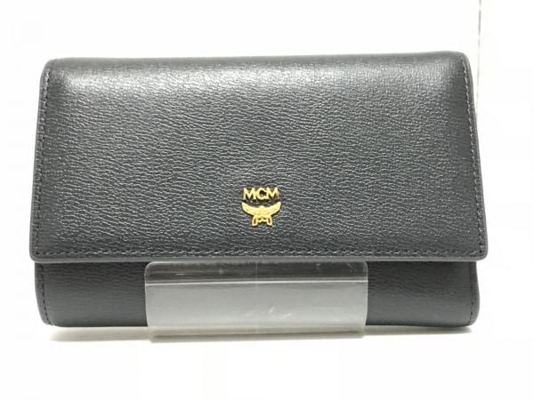 MCM(エムシーエム) 3つ折り財布美品  ネイビー 合皮