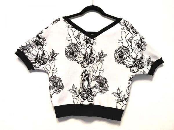 アウラ 半袖カットソー サイズ0 XS レディース美品  白×黒 ドルマンスリーブ/花柄