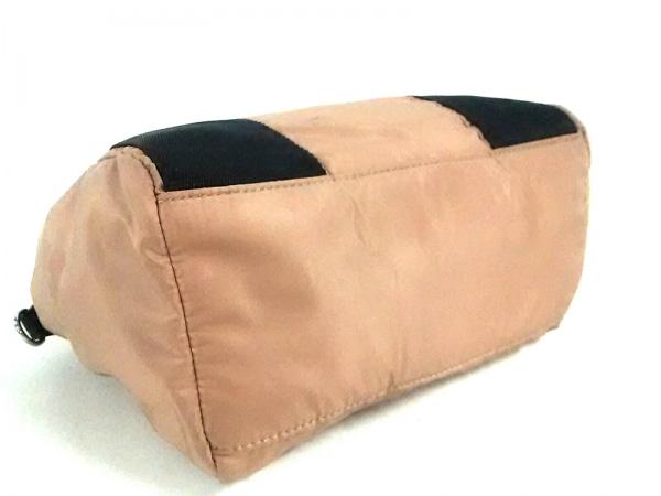 パピヨネ ハンドバッグ美品  ライトブラウン×黒 ナイロン×プラスチック