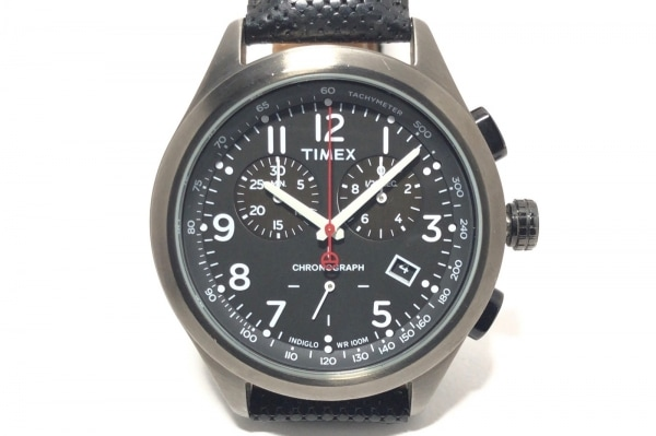 TIMEX(タイメックス) 腕時計 CR2016CELL メンズ 革ベルト/クロノグラフ 黒