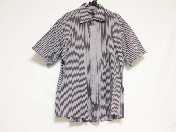 Zegna(ゼニア) 半袖シャツ メンズ グレー×ボルドー ストライプ