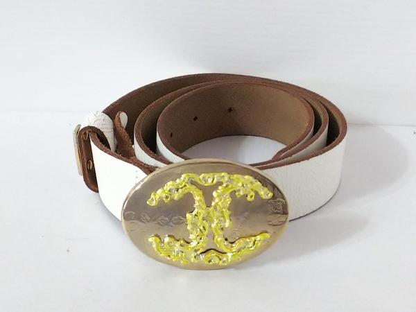 JUST cavalli(ジャストカヴァリ) ベルト 80 白×ゴールド×イエロー レザー×金属素材