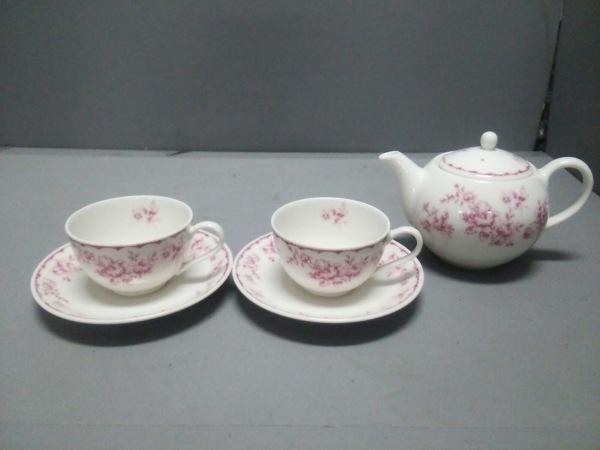 アフタヌーンティー 食器新品同様  白×ピンク ティーポット/ティーカップ×2セット