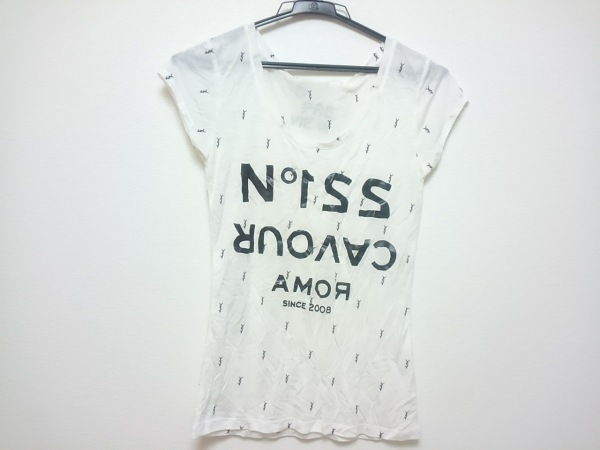5preview(ファイブプレビュー) 半袖Tシャツ レディース アイボリー×黒