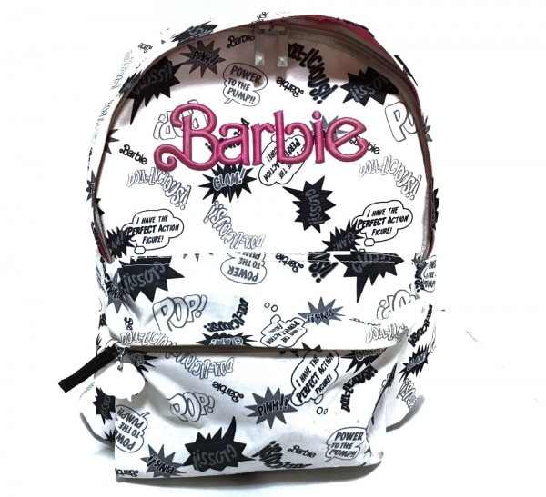 Barbie(バービー) リュックサック 白×黒×ダークグレー×マルチ ナイロン