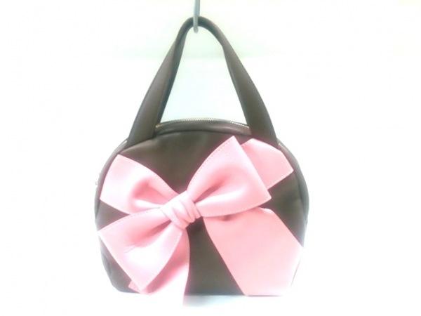 UNOKANDA(ウノカンダ) ハンドバッグ ダークブラウン×ピンク リボン レザー