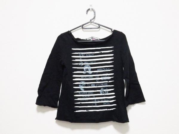 マリークワント 七分袖カットソー サイズM レディース 黒×白×グレー LONDON