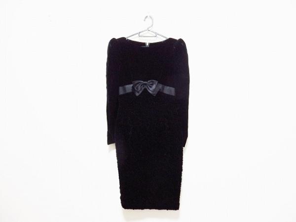 コージワタナベ スタイル ドレス レディース 黒 ベロア/リボン/シワ加工