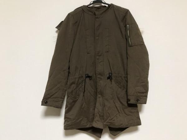 291295オム コート サイズ2 M メンズ美品  ダークブラウン×ベージュ 冬物/ファー