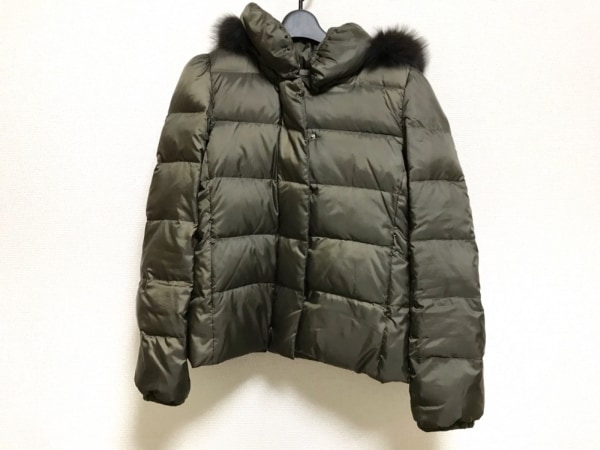 マイダルタニアン ダウンジャケット サイズ38 M レディース カーキ ファー/冬物
