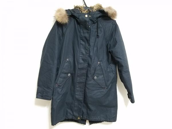 coen(コーエン) コート サイズL メンズ 黒×ライトブラウン ジップアップ/冬物/ファー